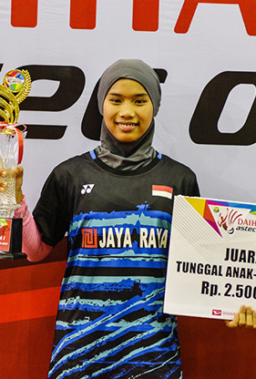 Natiqotul Wardah Fil Karomah from Jaya Raya (U13 Single Female Winner)
